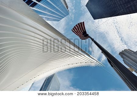 NEW YORK CITY - AUGUST 23: Exterior of the WTC Transportation Hub on August 23 2017 in New York City USA. The main station house the Oculus opened on March 4 2016.