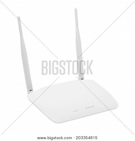 White wi-fi router isolated on white background including clipping path