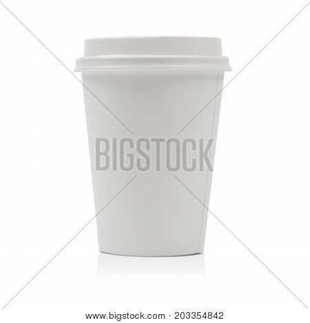 Takeaway paper coffee cup isolated on white background