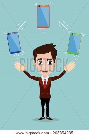 Man with an electronic gadget. Stock vector illustration for poster, greeting card, website, ad, business presentation, advertisement design.