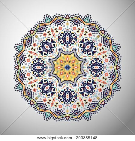 Ornamental round bright pattern in aztec style