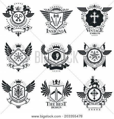 Vintage emblems vector heraldic designs. Coat of Arms collection vector set.