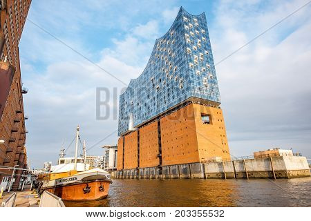 HAMBURG, GERMANY - August 10, 2017: View on the Elbe Philharmonic Hall, a concert hall on Elbe river opened on 11 January 2017 in the Hafencity quarter of Hamburg
