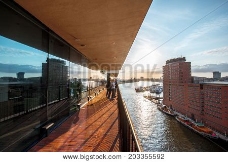 HAMBURG, GERMANY - August 10, 2017: View from the terrace of Elbe Philharmonic Hall, a concert hall on Elbe river opened on 11 January 2017 in the Hafencity quarter of Hamburg