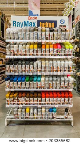 Eskisehir, Turkey - August 16, 2017: Different Colors Graffiti Spay Paint Cans Displayed On Shelves