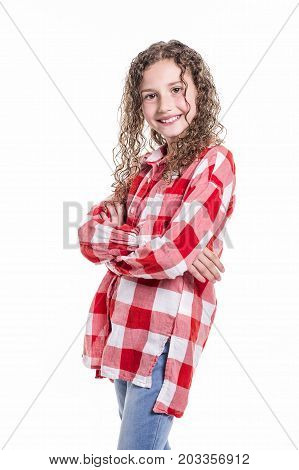 A Portrait of 9 years old girl with curly hair, isolated on white