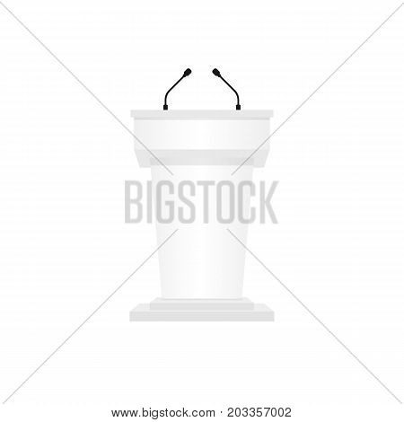 Pulpit podium white color isolated on white background