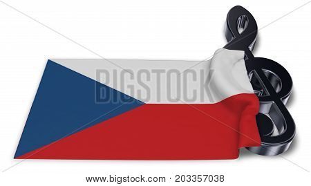 clef symbol and flag of the czech republic - 3d rendering