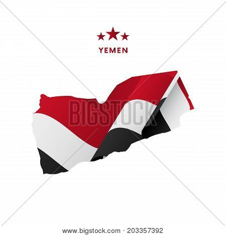 Yemen map with waving flag. Vector illustration.