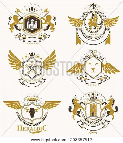 Heraldic Coat of Arms created with vintage vector elements bird wings animals towers crowns and stars. Classy symbolic emblems collection vector set.