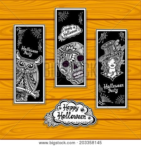 Set creative bookmarks for coloring on Halloween with owl skull witch black and white or creative stickers or for banners