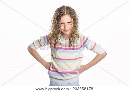 A Portrait of a confident 9 years old girl with curly hair, isolated on white