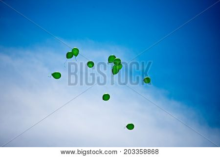 Green Balloons Filled With Helium Flying Towards Blue Sky