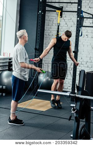 Sportsmen Training With Skipping Rope