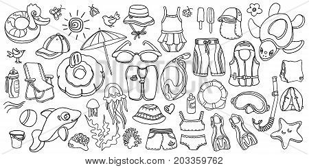 Doodle set of swimming goods for kids. Vector icons Illustration on white background. Sketch. Vest mask tube swimsuit cap panama fins swimming trunks. Summer children's holiday at sea