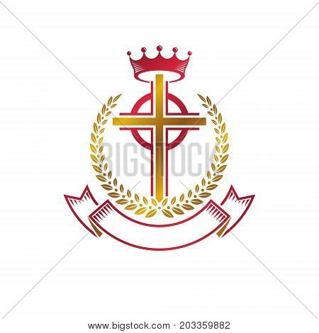 Christian Cross golden emblem created with royal crown laurel wreath and luxury ribbon. Heraldic Coat of Arms decorative logo isolated vector illustration. Religion and spirituality symbol.