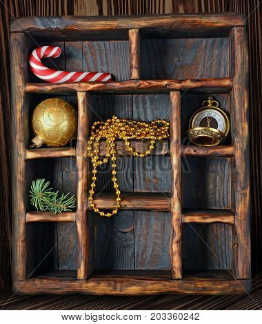 Vintage Wooden Shadow Box With Candy Canes, Christmas Tree Toy And Golden Watch