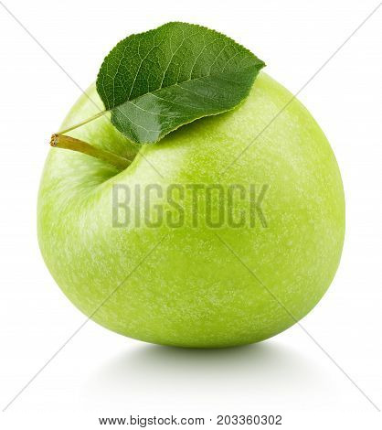 Green Apple Fruit With Green Leaf Isolated On White