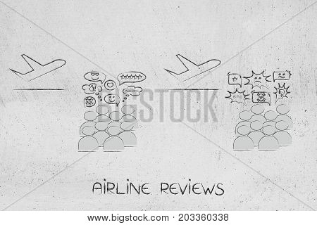 Airplanes With Crowd Commenting Positively And Negatively About The Airlines