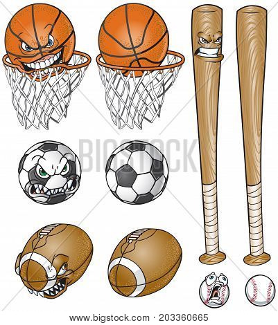 Vector cartoon clip art illustration set of a soccer ball football baseball and bat and basketball and net each one with and without a face.