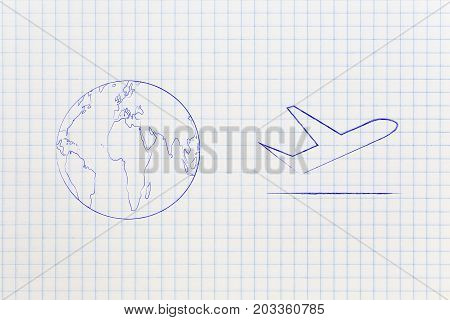 World Next To Airplane Icon, Travel Industry