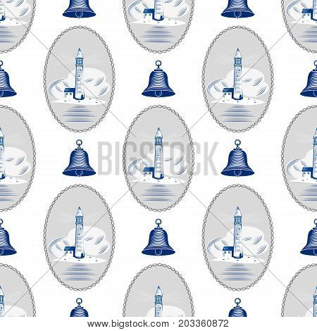 Sea lighthouse pattern marine boat wheel. Vector yacht boat navigation blue texture. Background with silhouette of ship s bell steering illustration