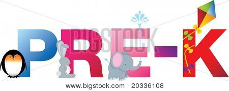 The word pre-k made up from alphabet cartoon letters with matching animals and objects