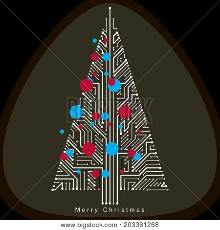 Vector illustration of futuristic evergreen Christmas tree technology and science conceptual design. Holidays and celebration idea. Technology and nature balance concept.