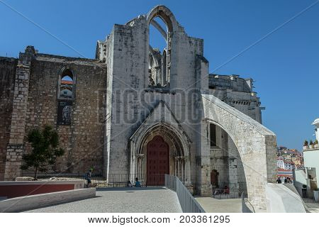 Lisbon, Portugal - july 2016: Exterior of Historical Building in Lisbon: The Carmo Convent Portugal