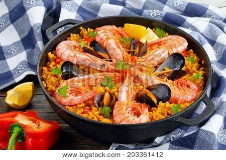 Close-up Of Tasty Seafood Valencia Paella