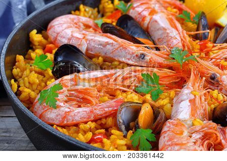 Seafood Paella With King Prawns, Mussels