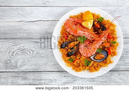 Portion Of Tasty Seafood Valencia Paella