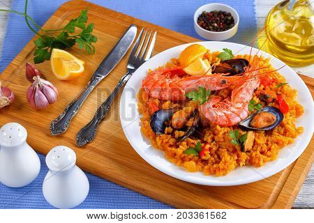 Seafood Valencia Paella On White Plate
