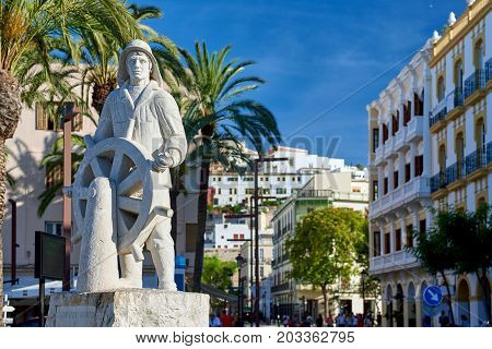 Ibiza, Spain - June 10, 2017: The statue dedicated to sailors located in the old town of Ibiza. Balearic Islands. Spain