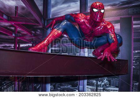 Berlin - March 2017:   Spider-Man wax figure in Madame Tussaud's museum