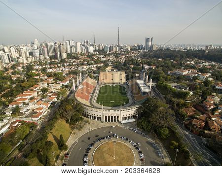 Sao Paulo SP Brazil August 2017. Aerial view of the Municipal Stadium of Pacaembu called Paulo Machado de Carvalho where the Football Museum is located in Charles Miller Square Sao Paulo