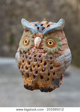 Handmade Hanged Wooden Owl Figurine, Animal theme
