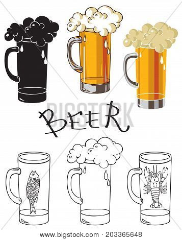 illustration on white background alcohol drink glass of beer with crayfish and dried fish