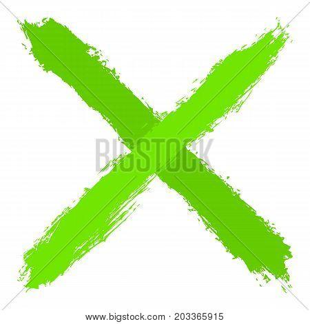 Green Criss Cross Brushstroke Delete Sign