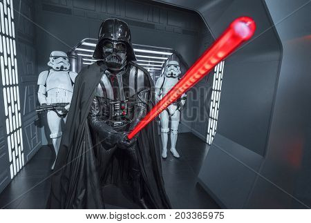 Berlin - March 2017:   Darth Vader wax figure in Madame Tussaud's museum