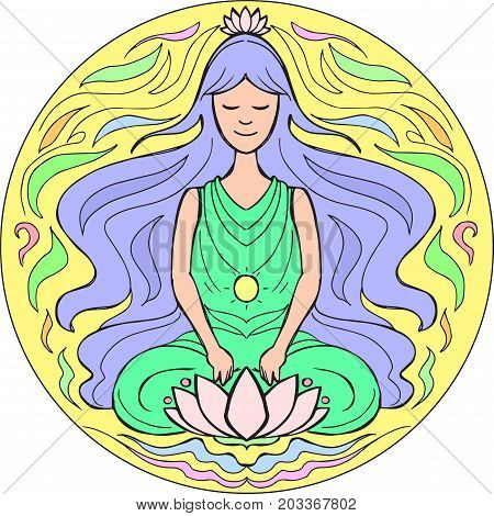 Woman in yoga meditation pose Padmasana. Illustration Mandala
