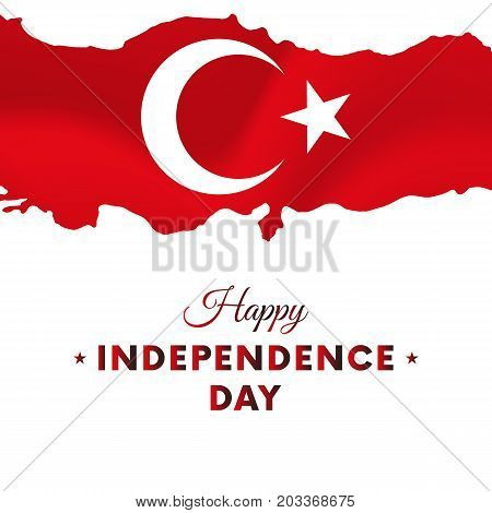 Banner or poster of Turkey independence day celebration. Turkey map. Waving flag. Vector illustration.