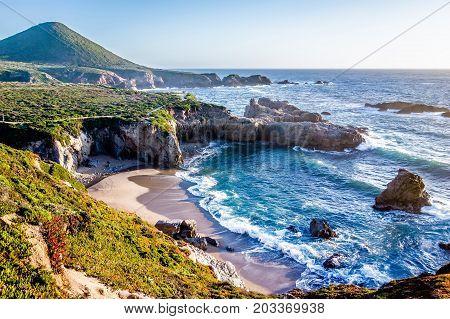 Pacific Ocean Coastal Scenes Of Beaches Rocks And Cliffs