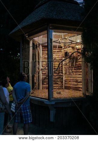 Yalta, Crimea - 11 July, People at the illuminated cage, 11 July, 2017. Zoo and animals on the territory of the hotel Yalta Intourist.