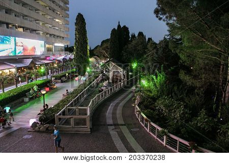 Yalta, Crimea - 11 July, Evening near the hotel, 11 July, 2017. Night surroundings and adjoining territories of hotel Yalta Intourist.