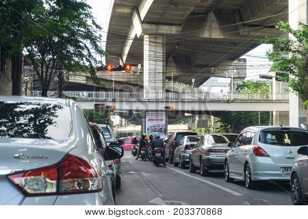 Bangkok, Thailand - June 3, 2017: Traffic in the capital was crowded and the traffic is always to create air pollution greatly.