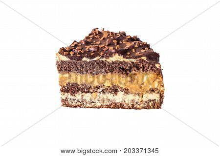 Isolated Piece Of Chocolate Layered Cake With Nougat And Biscuit In The Cut