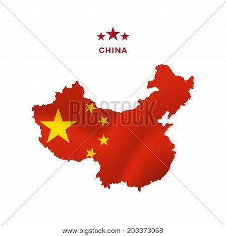 China map with waving flag. Vector illustration.