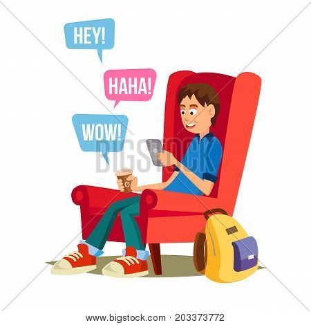 Teen Boy Vector. Young Teen Boy Smiling. Teens Chatting On Messenger. Flat Cartoon Illustration