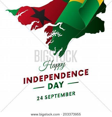 Banner or poster of Guinea Bissau independence day celebration. Guinea Bissau map. Waving flag. Vector illustration.
